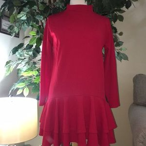 Red ruffles bottom long sleeve dress